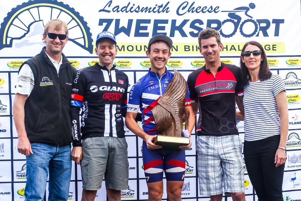 Ladismith Cheese 7Weekspoort MTB Challenge men's 82km podium. From left to right: Ronaldo Groenewald (CEO Ladismith Cheese), David Garret (2nd), Dylan Rebello (1st), Pieter Gildenhuys (3rd) and Shani Morton (Western Province Cycling). On the 1st October 2016. Photo by Oakpics.com